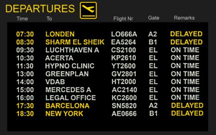 Luchthaven sprekersbord